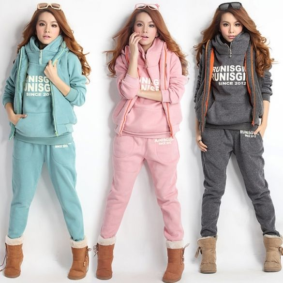 Women Autumn Stylish Hoodies Suit Thickening Sports Hoodie Hoody + Pant + Vest 3pcs