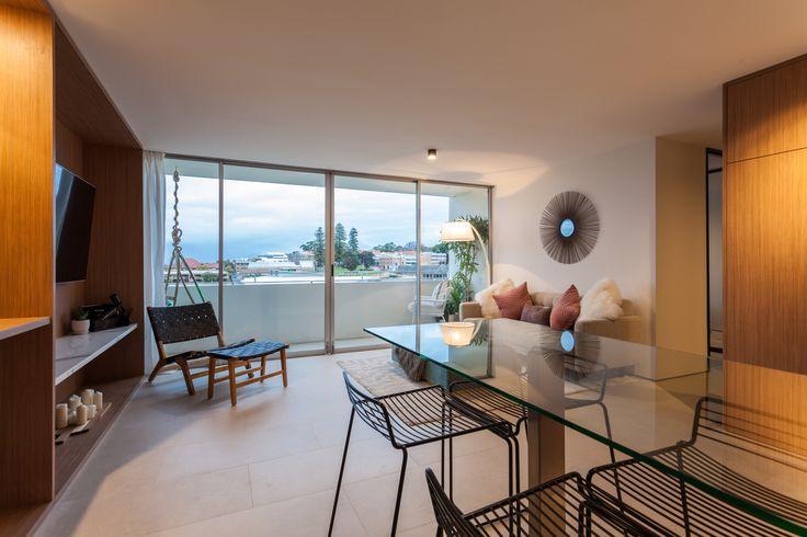 Apartment renovation - Kitchen by LDC. Claremont, Western Australia. #living #balcony #smallbalcony #balconyideas #modern #timber  #style #design  #glass #integrated  #smallapartment #apartment #ideas #apartmentideas #lighting #stools #interior #interiorinspiration #inspiration
