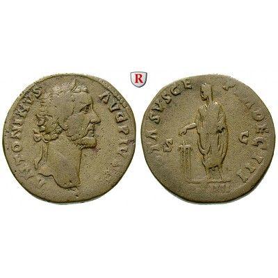 Römische Kaiserzeit, Antoninus Pius, Sesterz 158-159, ss: Antoninus Pius 138-161. Messing-Sesterz 32 mm 158-159 Rom. Kopf r. mit… #coins