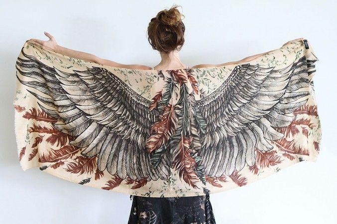 Artist Creates Beautiful Handmade Scarves With Bird Wing Motifs | http://www.123inspiration.com/artist-creates-beautiful-handmade-scarves-with-bird-wing-motifs/
