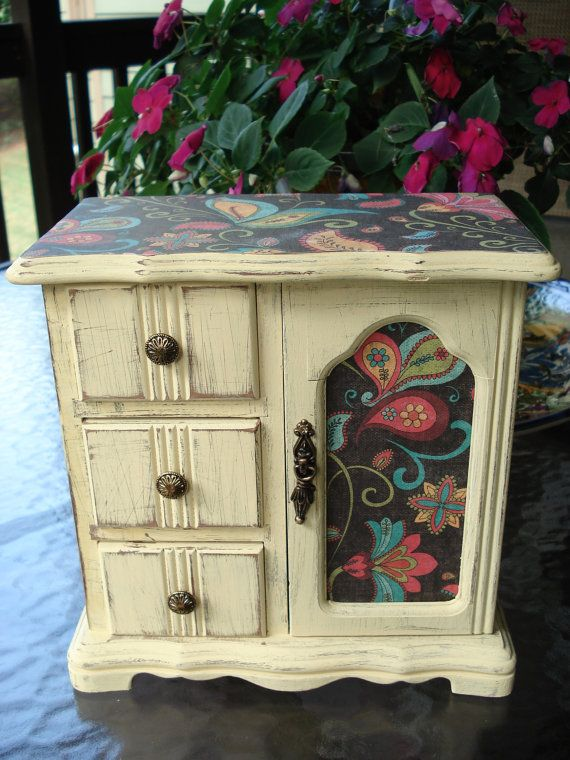 SHABBY CHIC UPCYCLED Jewelry Box Painted in a Butter Yellow Color, Distressed, Decoupaged, and Waxed! A Ring Drawer/ Necklace Carousel too!