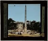 Roma. Obelisco Flaminio :Met op de achtergrond de trappen van de Piazza del Popolo die naar de Pincio heuvel leiden | Photographer unknown EuropeanaPhotography