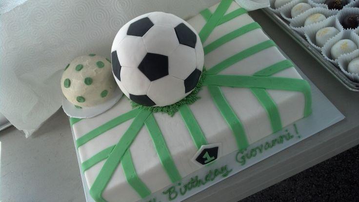 Soccer ball cake for boy's birthday. Myriad Cake Design.
