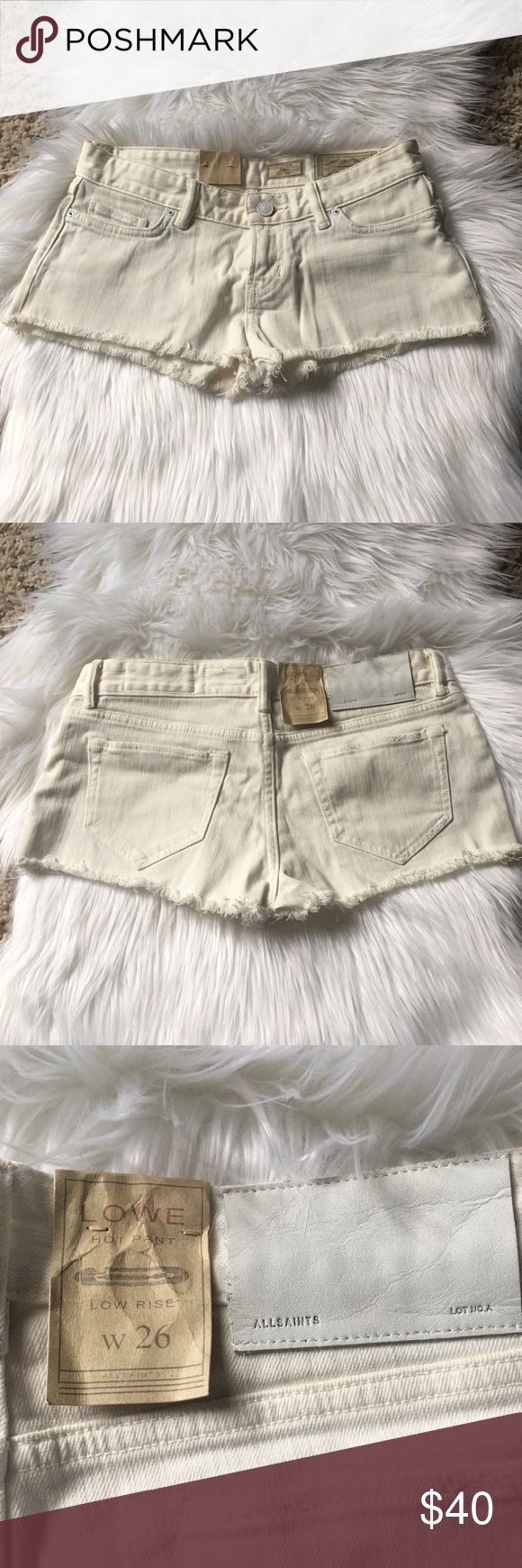 """AllSaints Cream Denim """"Hot Pants"""" Shorts NWT AllSaints Cream Denim """"Hot Pants"""" Shorts NWT - """"cheeky"""" short shorts perfect for the summer, beach, and pool. Size 2, no stretch, sits below waist. All Saints Shorts Jean Shorts"""