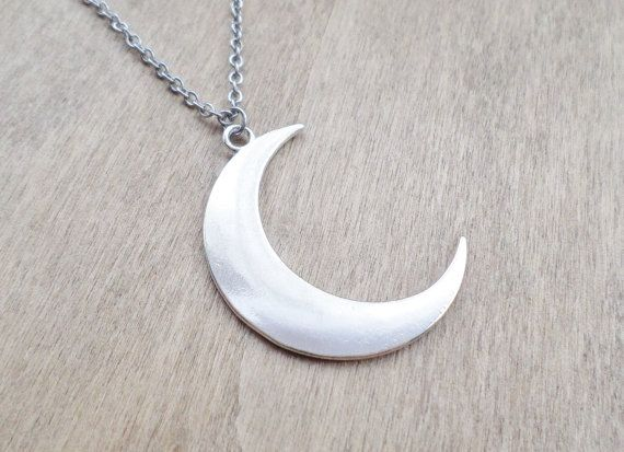 Large Silver Crescent Moon Necklace by AuroraLaneJewellery on Etsy - homemade witch costume