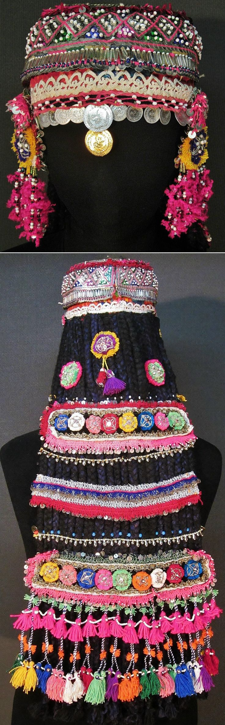 A traditional festive headgear for 'genç kız' (= not yet betrothed girls). From the Pomak villages near Biga (Çanakkale prov.), mid-20th c. The cap is adorned with metal sequins, glass beads, metal (imitation) Ottoman coins, (cotton or orlon) pom-poms. Characteristic for the headgear is the lavishly adorned 'imitation hair' (black cotton plaits, attached to the back of the hat). (Inv.nr. ba$034 - Kavak Costume Collection - Antwerpen/Belgium).