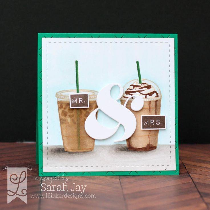 Mr. & Mrs. iced coffee and frappuccino card featuring Lil' Inker Designs Coffee Talk and All About the Ampersand stamps and dies