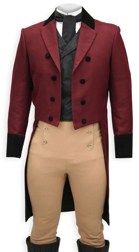 Regency Tailcoat - Burgundy with Velvet Trim
