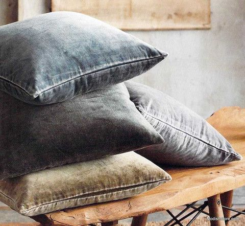Roost Washed Velvet Pillows, Cool Tone