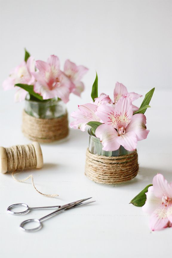 Diy Twine Flower Vase Oui Yogurt Jar Diy Inspiration Upcycyling