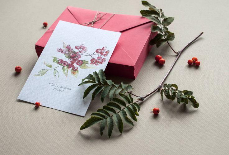 zaproszenia jesień jarzębina czerwień ślubne Koszalin, zaproszenia Koszalin, zaproszeniaślubne, miodunkapapeteriaślubna, wedding, ślub, papeteria, miodunka