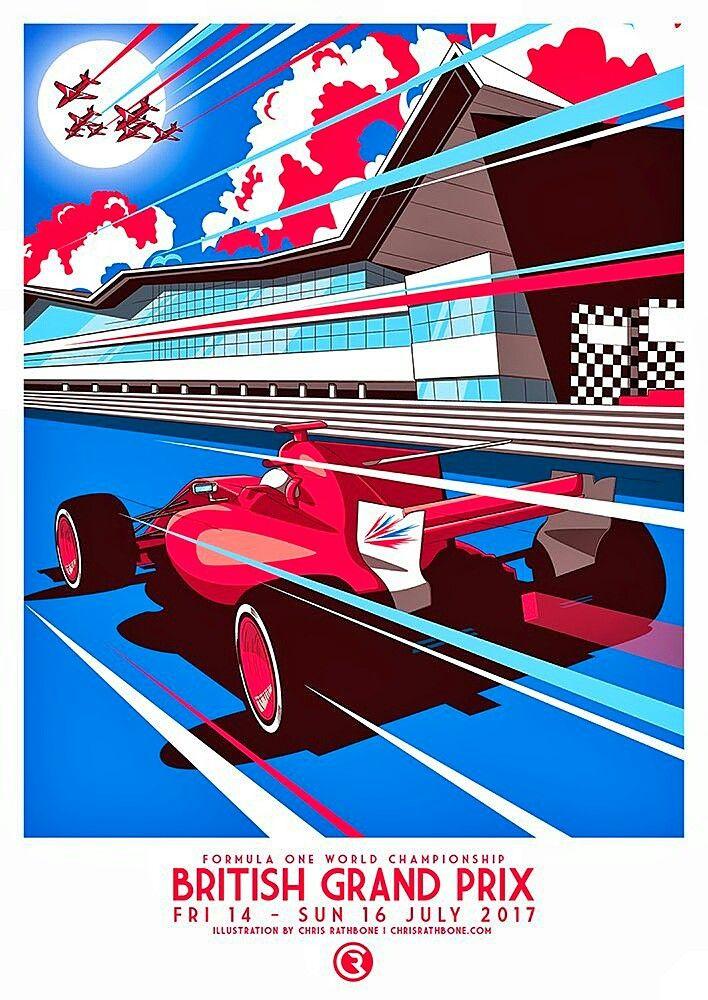 2017 British GP at Silverstone poster by Chris Rathbone. #F1 #Formula1 #BritishGP #Silverstone