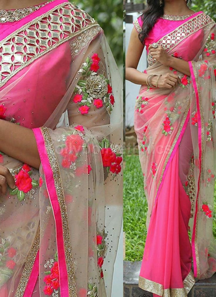 Shop Inspired style Pink and beige color georgette and net party wear saree at…