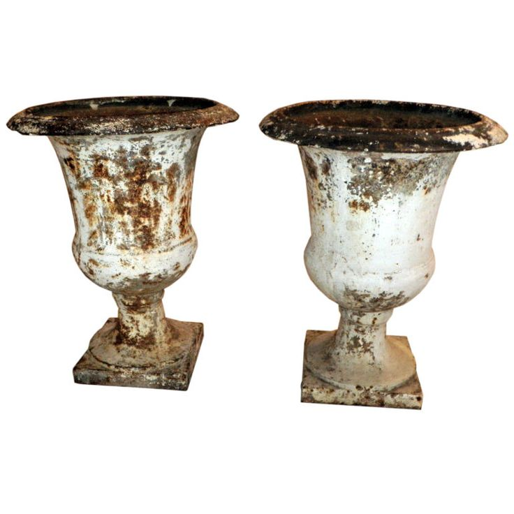 Pair of Directoire Painted Garden Urns | From a unique collection of antique and modern urns at https://www.1stdibs.com/furniture/building-garden/urns/