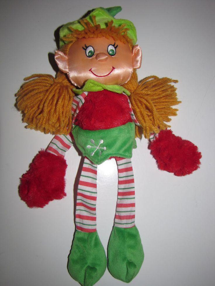 """2008 Kamar Skoodlez Doll Christmas  Girl Elf Doll 16""""  Stitch Green Eyes"""