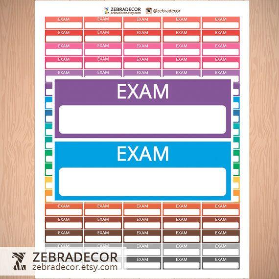 Planner Stickers Exam Printable  School Stickers от ZebraDecor