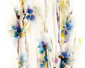 Art Print of Original Watercolour Painting Abstract Intuitive Nature Flowers 12.5x17''