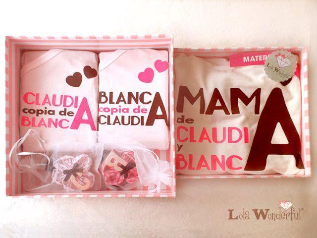 Lola Wonderful_Blog: Regalo embarazada: pack ropita y complementos personalizados para unas gemelas y su mami