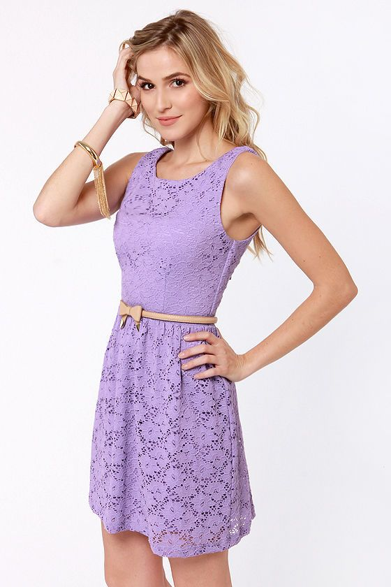 Cute Lavender Dress - Lace Dress - Purple Dress - $41.00 love