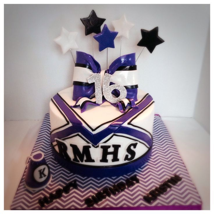 Cheerleading themed cake. Was designed to match her uniform.