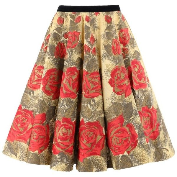 "Preowned Rattet & Son ""retay"" C.1950's Rose On Yellow Floral Print... ($524) ❤ liked on Polyvore featuring skirts, circle skirts, yellow, floral knee length skirt, flared skirts, floral print skater skirt, brown skirt and floral skirt"