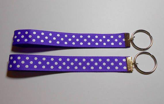 Polka Dot Keychain Polka Dot Key Fob Wrist Keychain Cute Key Fob Key Chain Handmade Ribbon Keychain Wrist Key Holder Purple Key Fob Ribbon Purple Small Gifts