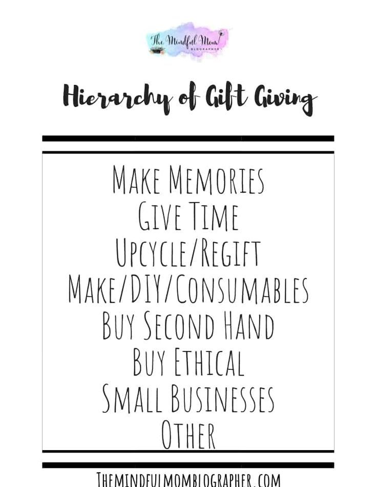 This hierarchy of gift giving can help you navigate any gift giving purchases whether your zero waste, a minimalist, or both!
