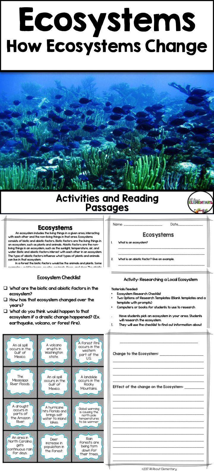 ecosystem changes reading passage and activities teaching elementary science science. Black Bedroom Furniture Sets. Home Design Ideas