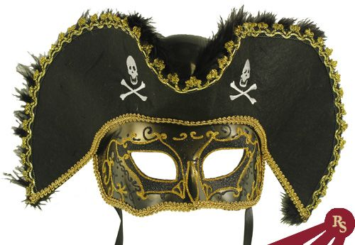 Venetian Masquerade Masks for Men | ... Venetian Masks >> Black Venetian Style Male Masquerade Pirate Mask