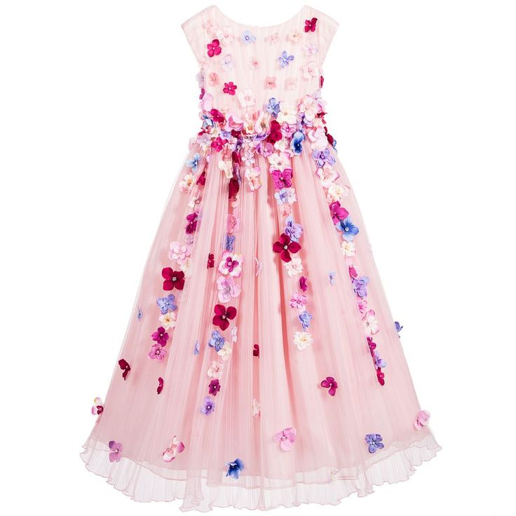 Lesy Pink Full Length Tulle Dress with Flowers at Childrensalon.com