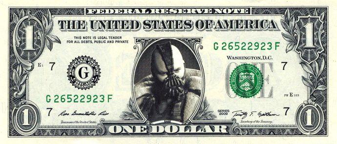 BANE Batman on Real Dollar Bill Cash Money Collectible Memorabilia Celebrity Novelty