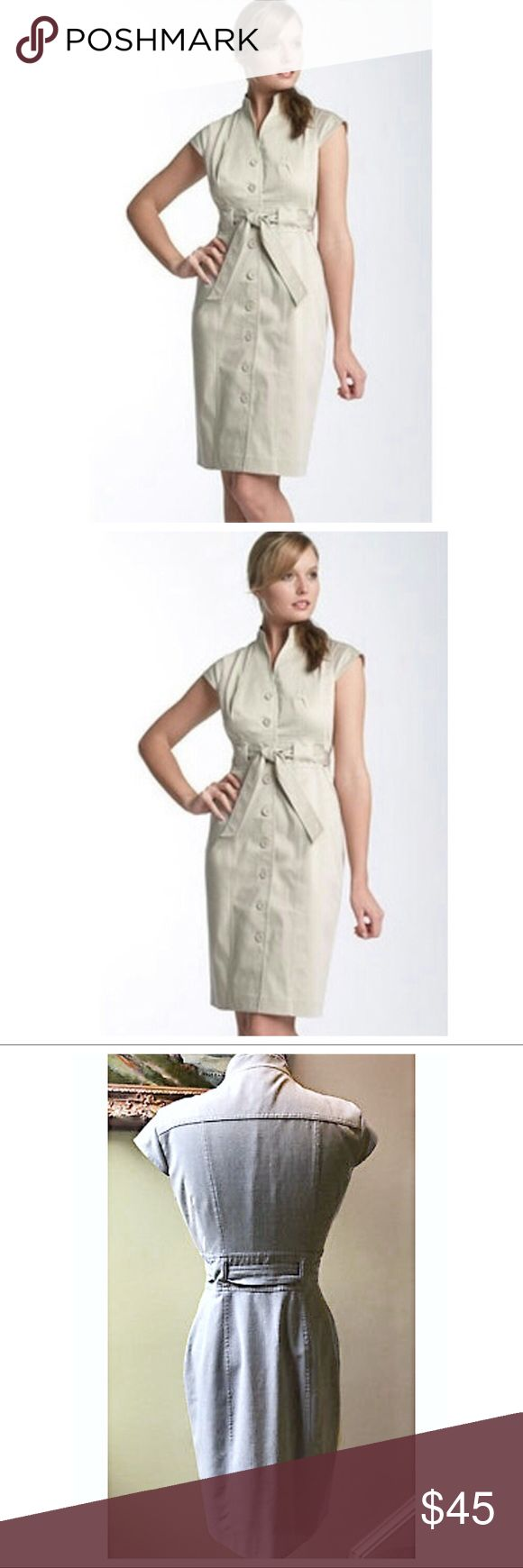 Calvin Klein Belted Shirt Dress Button Up Beige Khaki / Tan / Beige colored Linen Button Front Shirt Dress with entwined matching fabric belt. Calvin Klein logo buttons. Classic Chic Dress. Great for business/office wear while can still reflect cool casual style with ease. Well tailored & flattering silhouette. Sophisticated Style you can't go wrong with. The last pic is this dress in a different color Excellent flawless condition Calvin Klein Dresses