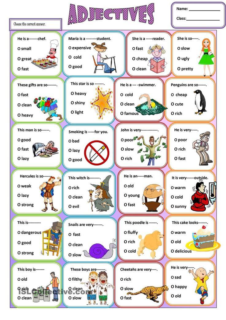 ... inglés educación inglese adjectives esl adjectives english 5th ver