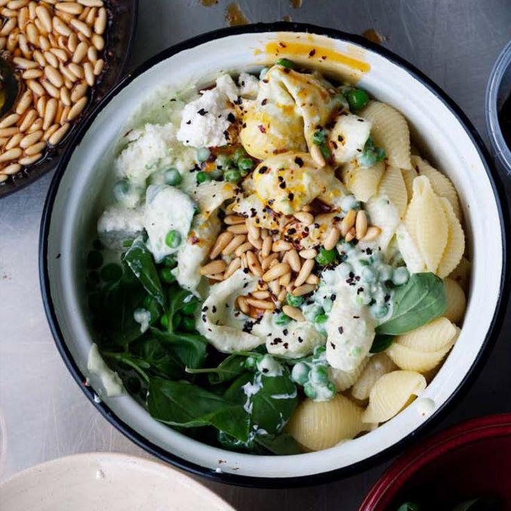 Ottolenghi conchiglie pasta with yoghurt, peas & chilli