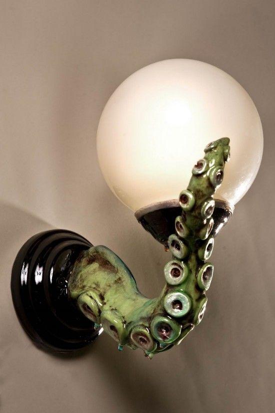 I love this!Adam Wallacavage, Lights Fixtures, Octopuses Lights, Wall Sconces, Bathroom Theme, Sea Monsters, Ocean Bathroom, Octopuses Bathroom, Tentacle Light