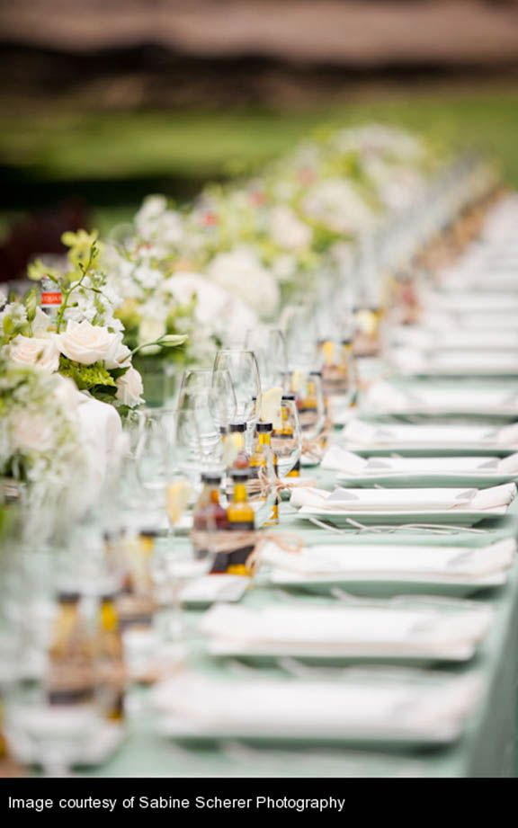 Celadon Green Tablecloths Look Great On Long Banqueting Tables At A Wedding Reception Coordination By Quintana Events
