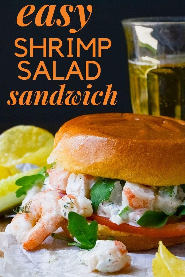 Easy Poached Shrimp Salad Sandwich Recipe Shrimp Salad Sandwich Sandwiches Shrimp Salad