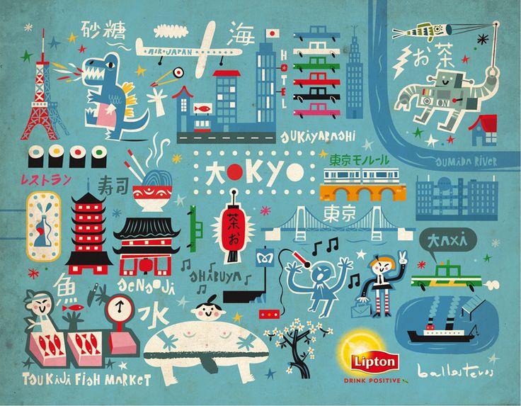 Carles Ballesteros - Tokyo map illustration