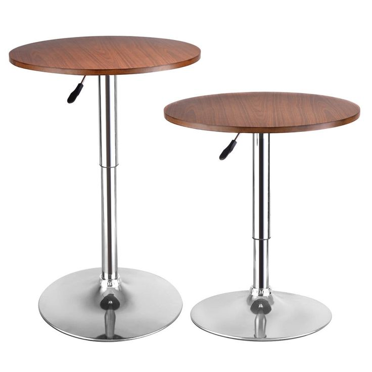 Costway Set of 2 Modern Round Bar Table Adjustable Bistro Pub Counter Wood Top Swivel, Grey chrome