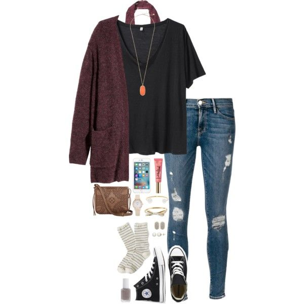 heyyy beautiful  by thatprepsterlibby on Polyvore featuring R13, H&M, Frame Denim, J.Crew, Free People, Converse, T-shirt & Jeans, Kendra Scott, Kate Spade and BaubleBar