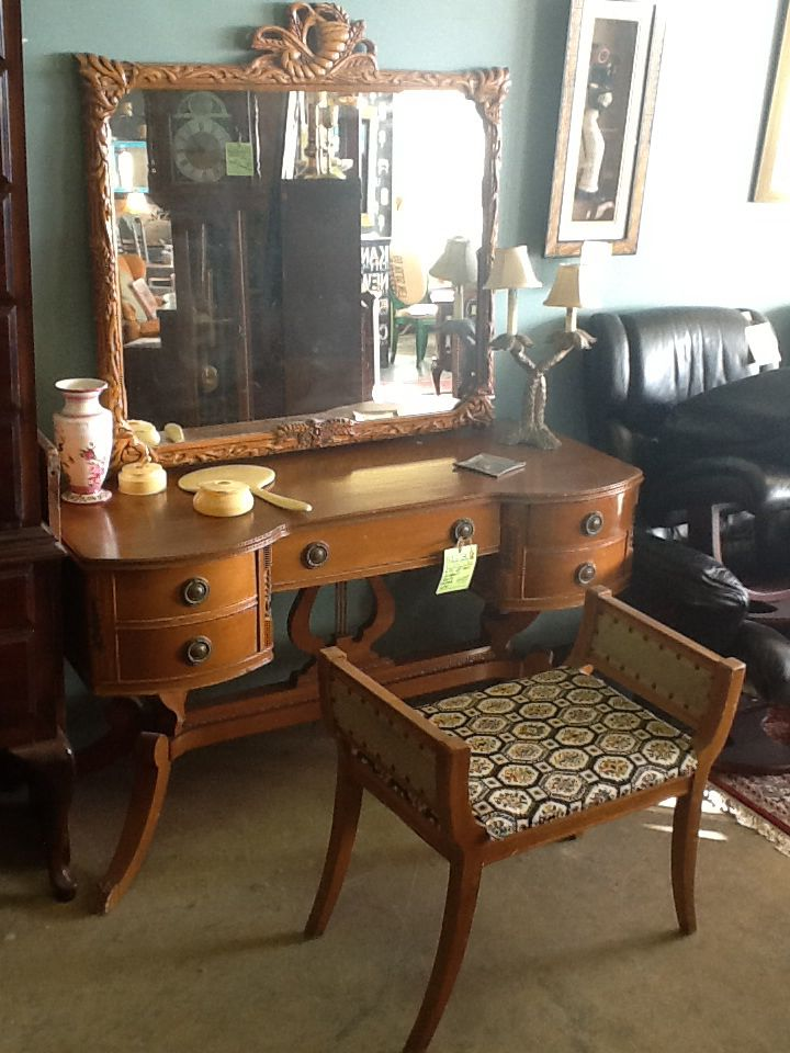 Butternut Vanity With Extreme Detail. For Sale At Reused Furniture/Olathe,  KS.