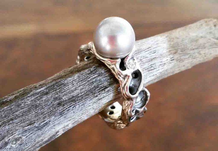 Adorned by Sally - hand carved pearl ring