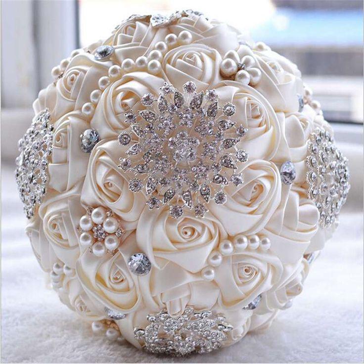 Ramos de novia de flores artificiales: Fotos de diseños - Bouquet de rosas artificiales