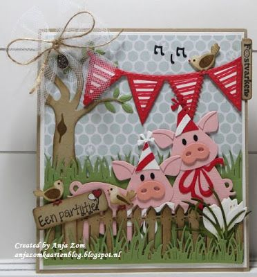 Handmade card by DT member Anja with among others Creatables Flags (LR0329), Craftables Grass (CR1355) and Collectables Eline's Piglet (COL1402) from Marianne Design