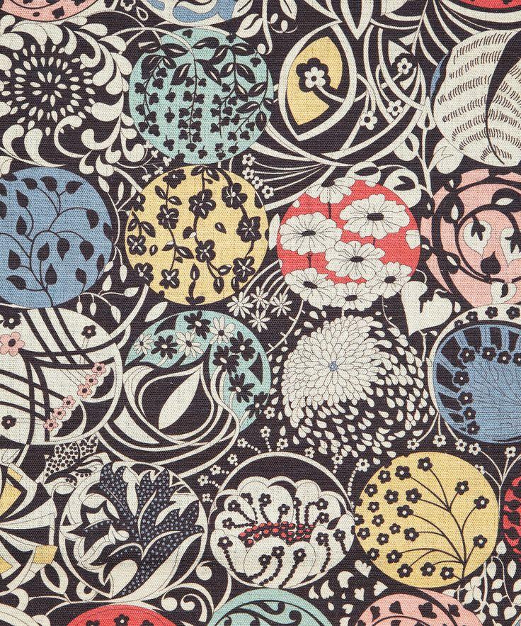 September Roslynd Print Linen Union, Liberty Furnishing Fabrics.