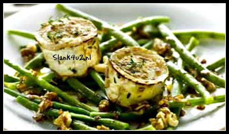 Warme salade van sperziebonen met geitenkaas - Slank4u2
