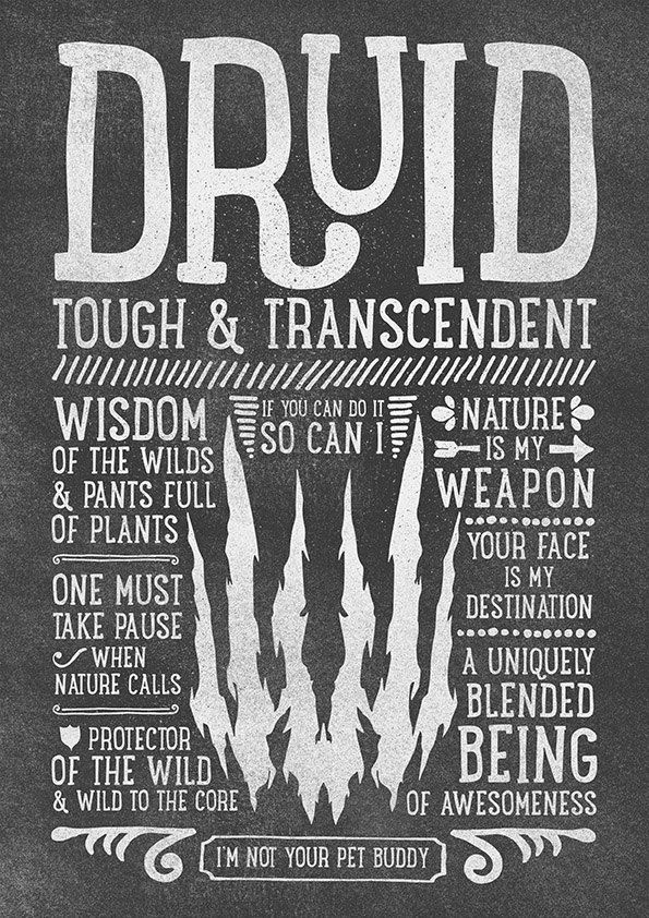 World of Warcraft / Roleplaying Medieval / Fantasy Inspired Type Print - DRUID Edition by PeterFoxDesign on Etsy https://www.etsy.com/listing/214168021/world-of-warcraft-roleplaying-medieval