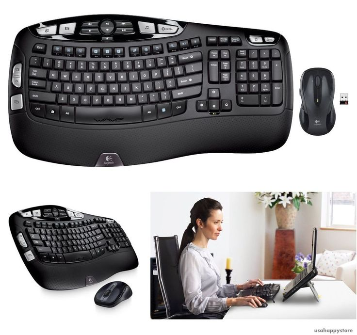Logitech Wireless Wave Keyboard Laser Mouse Ergonomic Desktop Computer Laptop #Logitech