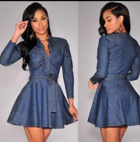 Blue denim long sleeve dress