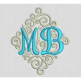 Adorn Duo Ornamental Monogram Machine Embroidery Designs by JuJu